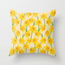 Yellow Daffodils Pattern Throw Pillow