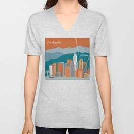 Los Angeles, California - Skyline Illustration by Loose Petals Unisex V-Neck