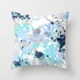 Silva - abstract painting large canvas art print for modern decor cool blue relaxing design urban Throw Pillow