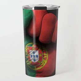 Portuguese Flag on a Raised Clenched Fist Travel Mug
