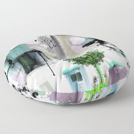 Peinture digitale maison arbres chat oiseau bulles Floor Pillow