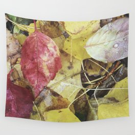 Rainy leaves. Retro Wall Tapestry