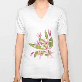 Tropical Pink Plumeria Unisex V-Neck