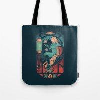 nouveau Tote Bags featuring Aran Nouveau by Victor Vercesi