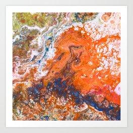 Orange Crush Acrylic Pour Painting Art Print