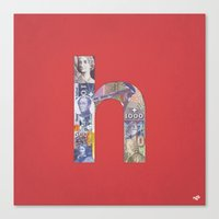 helvetica Canvas Prints featuring Helvetica by Riccardo Pallicelli