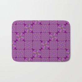 Bright Purple Rose Quilt Bath Mat