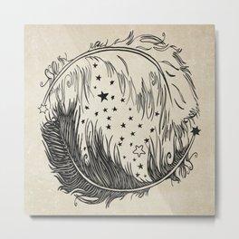 Feather Yin Yang Metal Print
