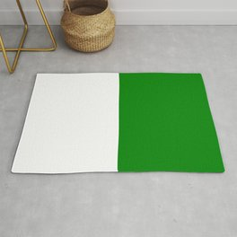 White and Green Horizontal Halves Rug