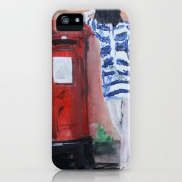 Blue And White Striped Dress Acrylic Fine Art Painting iPhone Case