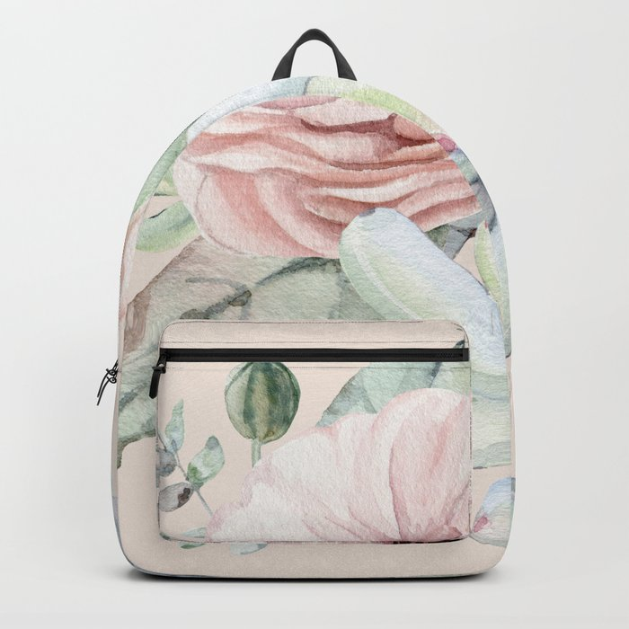 Elegant Blush Pink Succulent Garden by Nature Magick Backpack