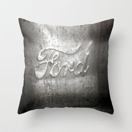 Ford Motors Black and white film Photography Throw Pillow