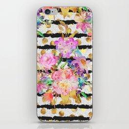 Elegant spring flowers and stripes design iPhone Skin