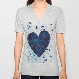 Splattered blue heart Unisex V-Neck