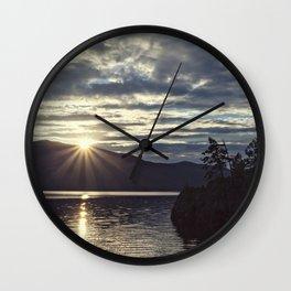 idaho lake sunset Wall Clock