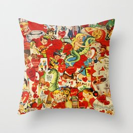 Vintage Valentine Cards - Love, Humor, Funny, Mermaids, Seahorse, Red Hearts,Couples, Reto Inspired Throw Pillow