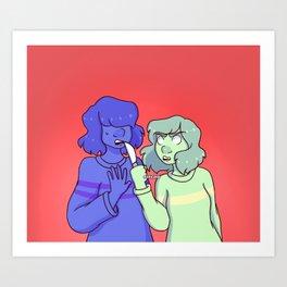 Frisk and Chara Art Print