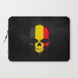 Flag of Belgium on a Chaotic Splatter Skull Laptop Sleeve