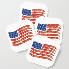 """When Bacon Is Love, Bacon Is Life """"American Flag Bacon"""" T-shirt Design Food Breakfast Lunch Snack Coaster"""