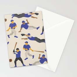 Pattern of Baseball Players in Blue Stationery Cards