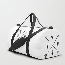 PNW Pacific Northwest Compass - White on Black Minimal Duffle Bag