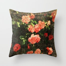 Vintage roses and scripts Throw Pillow