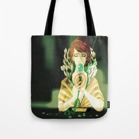 transistor Tote Bags featuring Sing for Me by Monica Selva