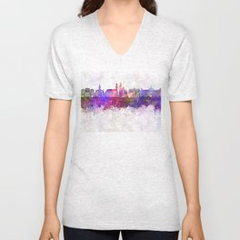 Malmo skyline in watercolor background Unisex V-Neck