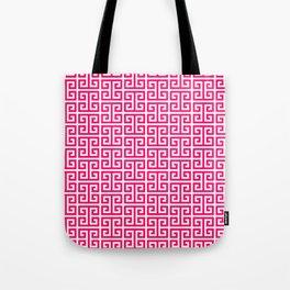 Hot Pink and White Greek Key Pattern Tote Bag