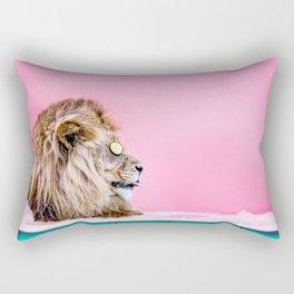 Lion in the Bathtub Rectangular Pillow