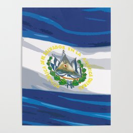 El Salvador Fancy Flag Poster