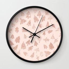 Modern rose gold glitter Christmas trees pattern on blush pink Wall Clock