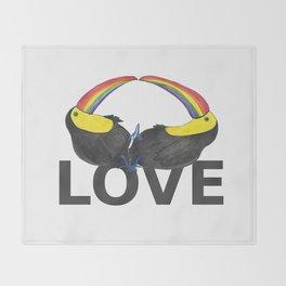 Love - Toucan Rainbow Throw Blanket