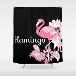 Pink Flamingo Cool Cute Black Shower Curtain