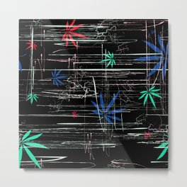 Colorful Marijuana Leaves and Scratches Metal Print