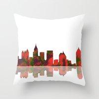 atlanta Throw Pillows featuring Atlanta Skyline by Marlene Watson