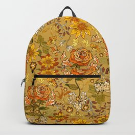 Rose vintage inpsired retro, warm colors 70s, boho Backpack