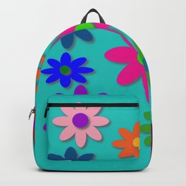 Flower Power - Teal Background - Fun Flowers - 60's Style - Hippie Syle Backpack