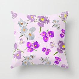 Crocus Lilac Throw Pillow