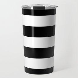 Black and White Large Stripes Travel Mug