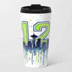 Seattle 12th Man Art Skyline Watercolor Metal Travel Mug