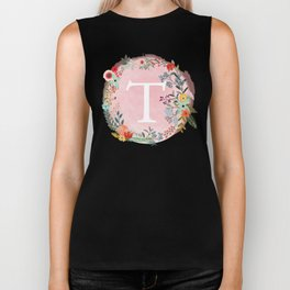 Flower Wreath with Personalized Monogram Initial Letter T on Pink Watercolor Paper Texture Artwork Biker Tank