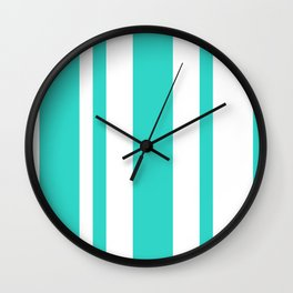 Mixed Vertical Stripes - White and Turquoise Wall Clock