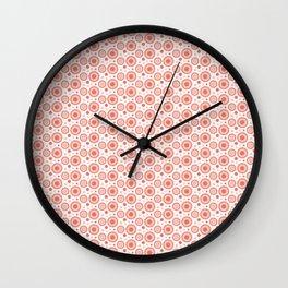 Pantone Living Coral Polka Dots and Circles Pattern on White Wall Clock