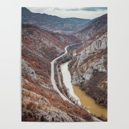 Beautiful picture of the canyon in Serbia. Dramatic sky and mountains Poster