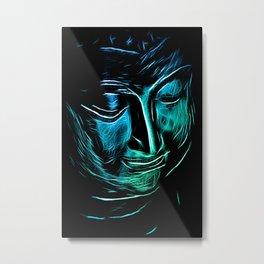 BuddhaFacial bluecyan Metal Print