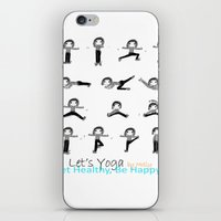 yoga iPhone & iPod Skins featuring yoga by Indraart