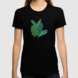 Contour Line Leaves in Teal T-shirt