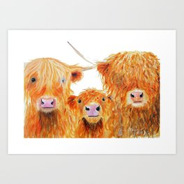 HIGHLAND COWS ' WE 3 COOS ' BY SHIRLEY MACARTHUR Art Print