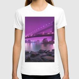 Shoreline View Of Bridge And City Skyline Purple Shade Ultra HD T-shirt